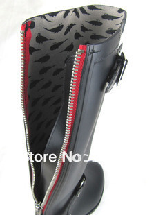 High Hasp Red Zipper Women Rain boots Motorcycle Boots Riding ...