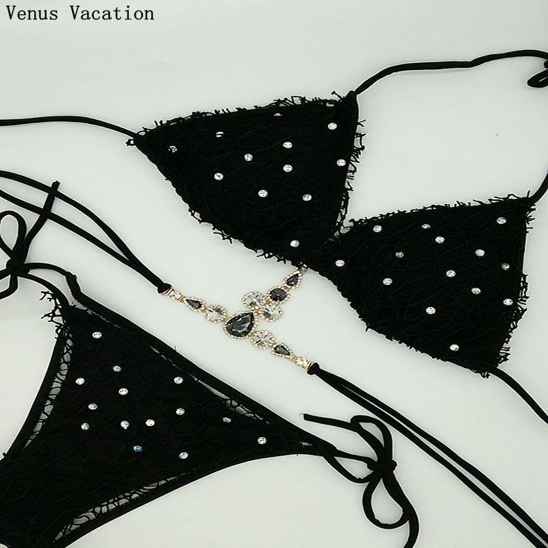 Venus Vacation 2018 new style lace diamond bikini set bandage crystal swimsuit sexy women bathing suit push up swimwear biquini 2016 bikini tanga summer style women casual sexy bandage push up bikinis padded bra bikini set swimsuit printed bathing suit