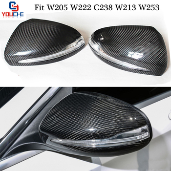 Cubierta de espejo de fibra de carbono de repuesto W205 para Mercedes W205 W213 W222 C238 W253 2014-actuales tapas de espejo LHD