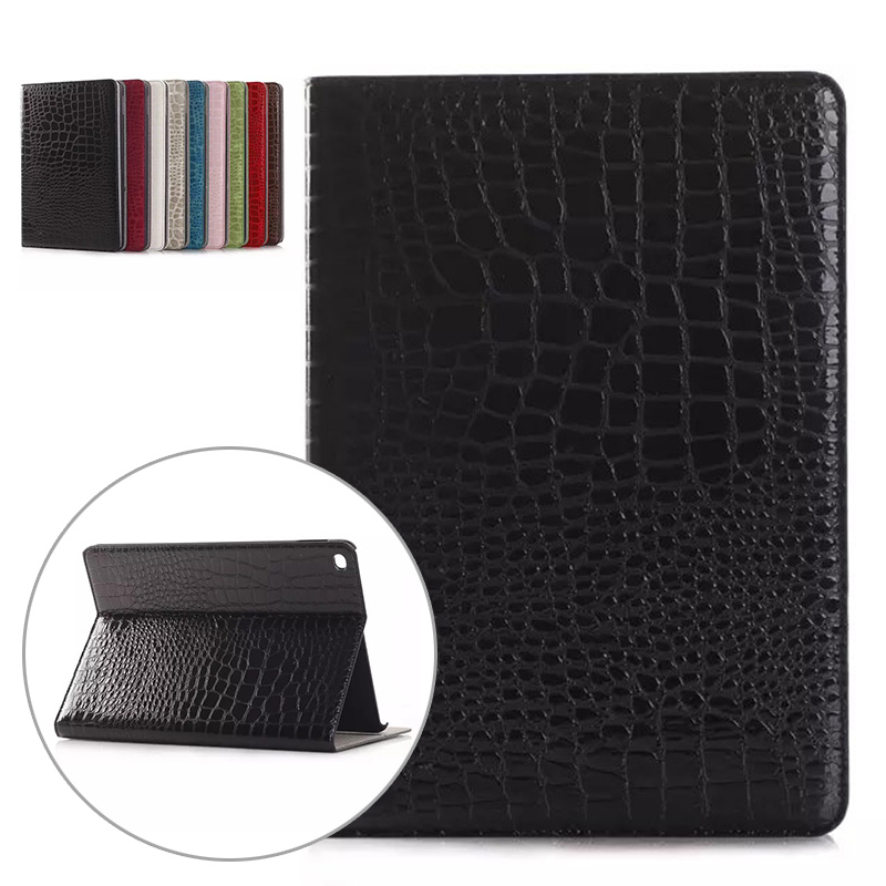 Fashion Luxury Crocodile Pattern Business Case for Ipad Air 2 Slot Card Cover for Ipad Air 2 Pu Leather Flip Cover Tablets Case