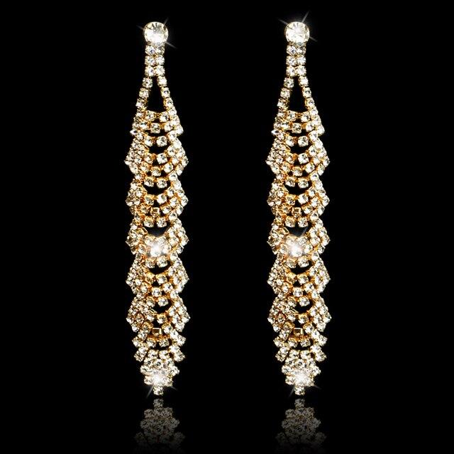 New Bridal Beautiful Leaf Design Long Earrings Elegant Gold Color Rhinestone  Crystal Dangle Earrings For Women 48674cb5bb40