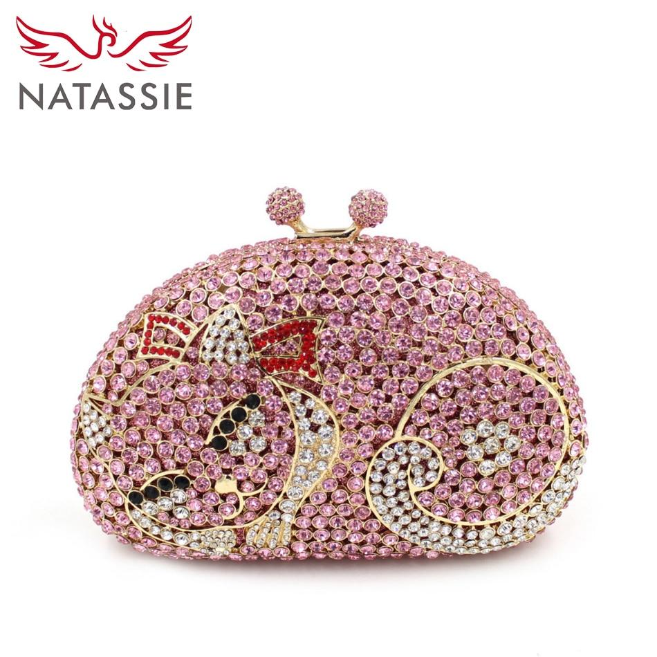 ФОТО NATASSI Cat Shape Luxury Crystal Clutch Bag Wholesale Beautiful Wedding Clutches Women Shine Diamond Clutch Handbags Gold Silver