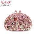 NATASSI Cat Shape Luxury Crystal Clutch Bag Wholesale Beautiful Wedding Clutches Women Shine Diamond Clutch Handbags Gold Silver