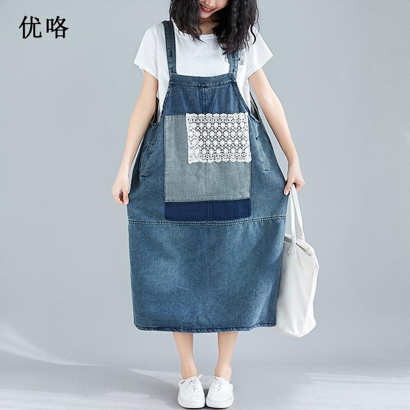 Big Size Summer Denim Dress Women Sleeveless Casual Sling Jeans Dresses Plus Size Loose A Line