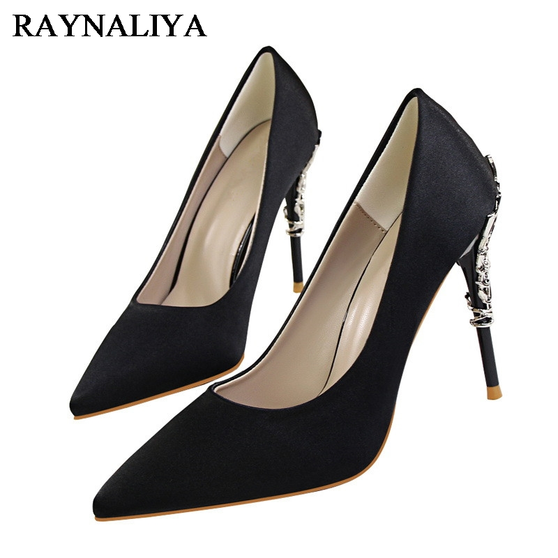 High Heel Shoes Woman Sexy Pumps Pointed Toe Metal Decoration Party Wedding Shoes Varied Colour Fashion Thin Heels BT-A0017 2016 woman high heels pumps thin heel women s shoes pointed toe high heels wedding shoes brand fashion shoes