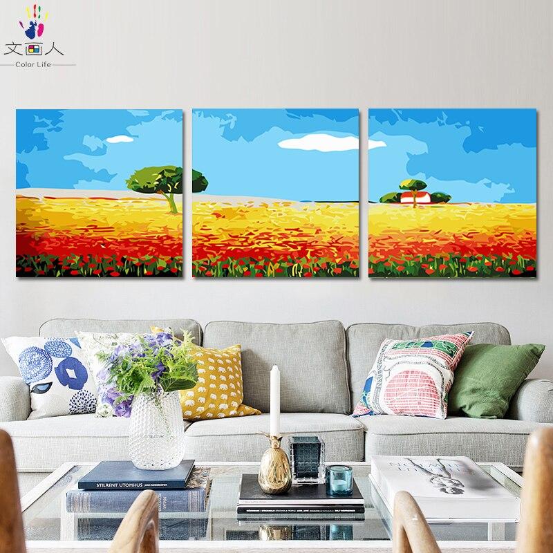 Peinture à la main coloriage par numéros avec kits sur toile 3 pièces paysage photos peinture par numéros avec cadre de bricolage pour décoration murale