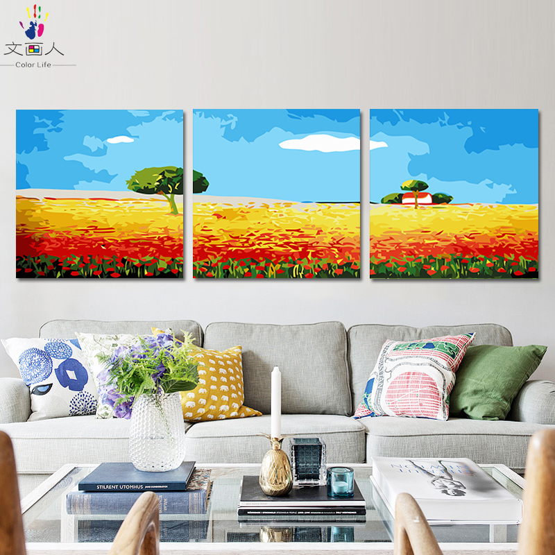 diy painting coloring by numbers with kits on canvas 3 pieces landscape pictures paint by numbers with diy frame for wall decor