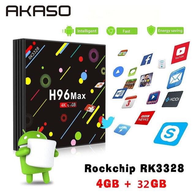 AKASO H96 MAX H2 Android 7.1 TV box Rockchip RK3328 4GB RAM 32GB 64GB Suppot H.265 UHD Wifi BT 4K H.265 set top box Media Player