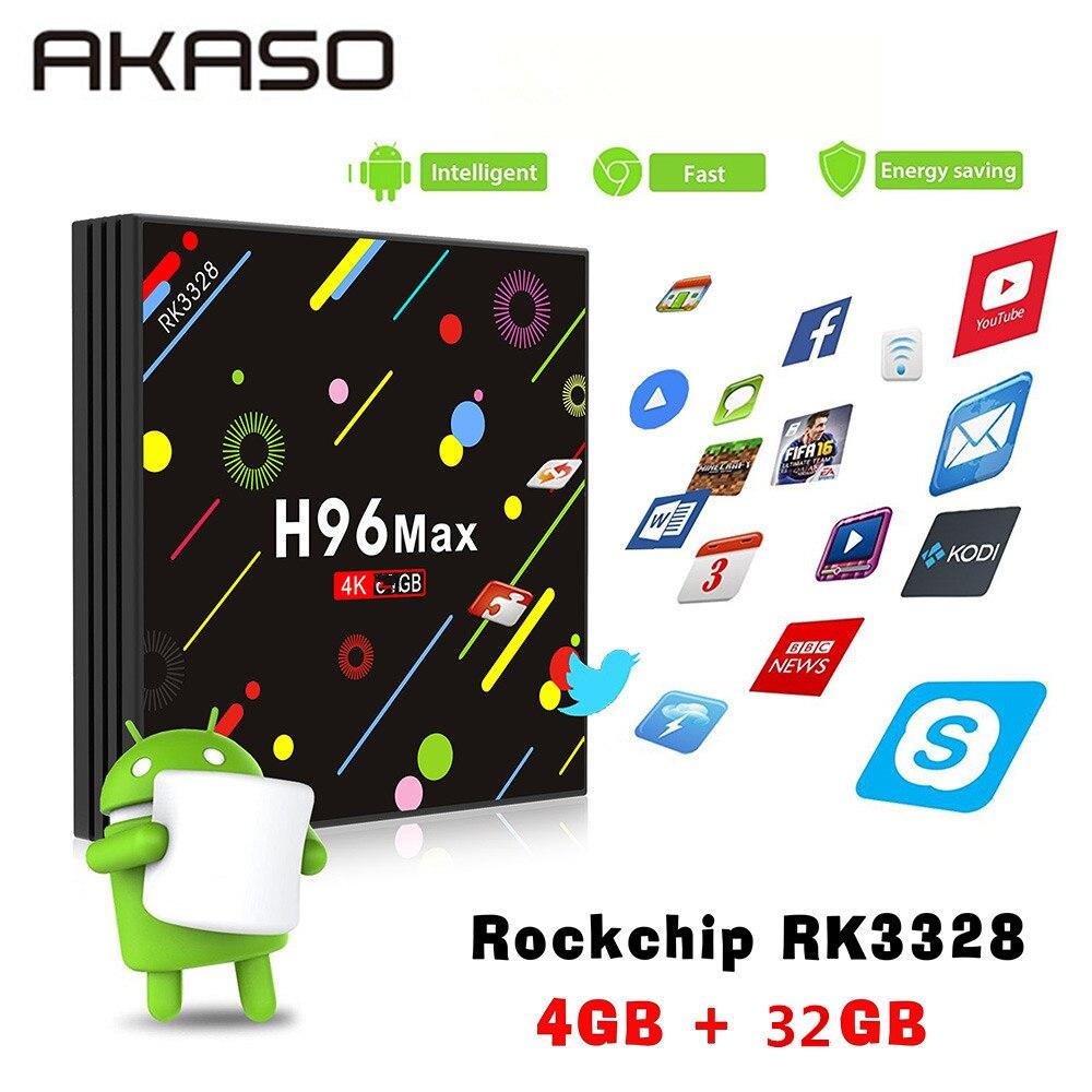 AKASO H96 MAX H2 Android 7,1 ТВ box Rockchip RK3328 4 ГБ Оперативная память 32 ГБ 64 ГБ Suppot H.265 UHD Wifi BT 4 К H.265 телеприставке Media Player