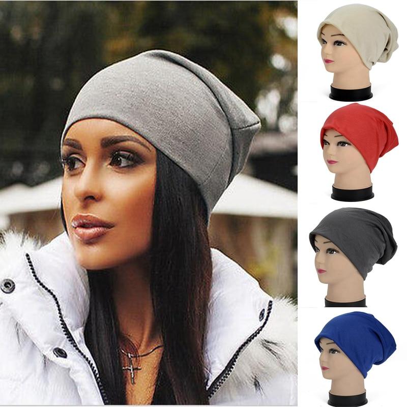 Women Winter Hats   Beanies   Cotton Blended Hip Hop Caps Slouch Warm Hat Unisex Turban Cap Solid Color Hat   Beanies   For Men