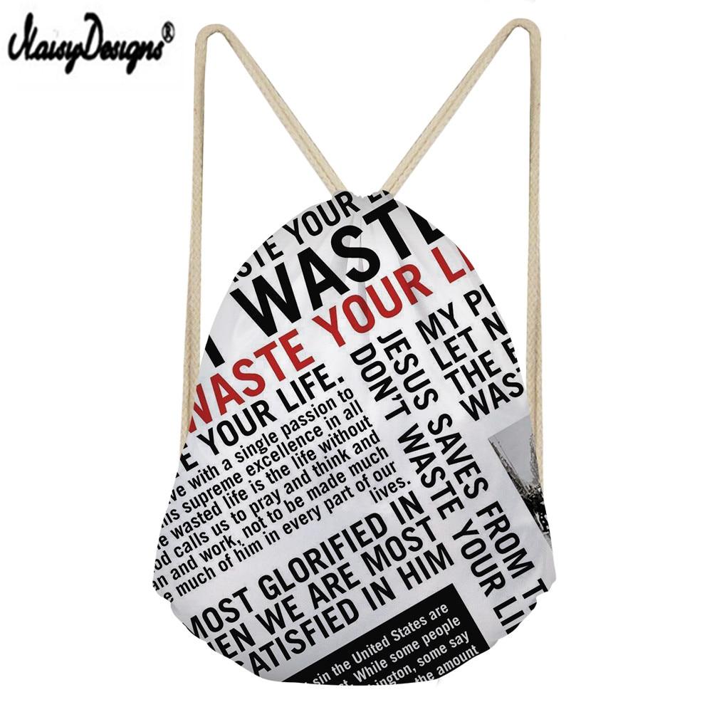 Noisydesigns Newspaper Print Custom Portable Drawstring Bag Men's Shoes Bag Ladies Travel Bag High Quality Men's Backpack