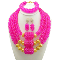 African Beads Jewelry Sets Red Beads Chain Chunky Indian Wedding Necklace Set Handmade Weave Crystal Collar Vintage