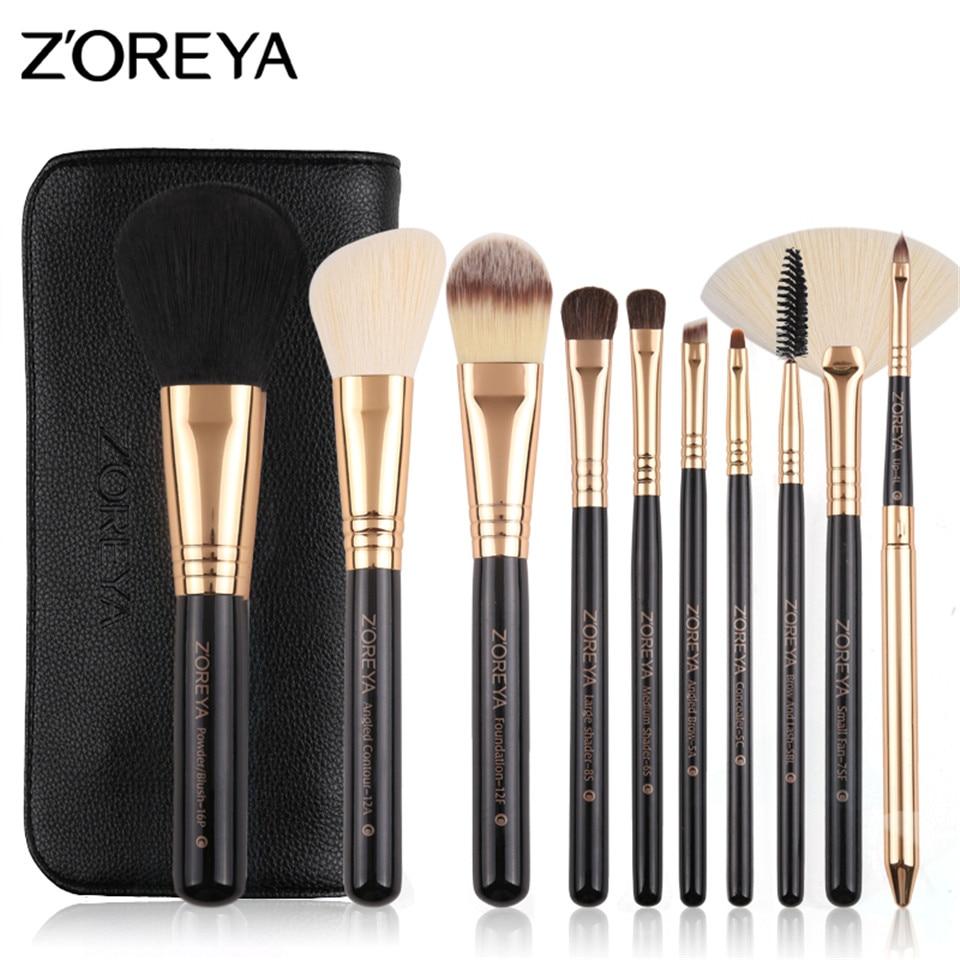 ZOREYA 10pcs/Set Makeup Brushes Rose Gold Cosmetic Brush Goat Hair Foundation Eyeshadow Eyeliner Lip Brushes With PU Leather Bag