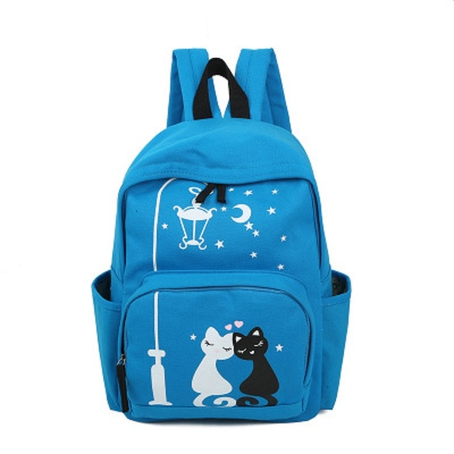 Canvas cartoon printing cat women backpacks ladies travel bags female mochilas  infantis escolars bolsos feminina for 38fa1bcba7ce1