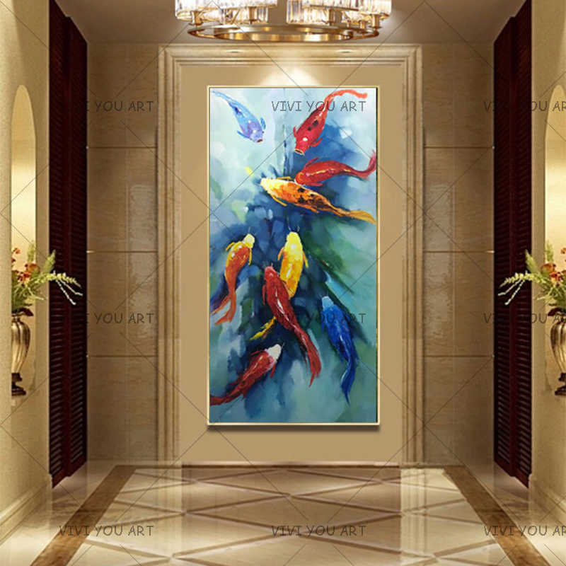 Wall Art Picture 100% Handpainted Abstract Nine Koi Fish Landscape Oil Painting on Canvas picture For Living Room Modern Decor