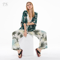 PK beach kimino two picec set summer print holiday floral kimono floral kimino women suits summer suits for women 2018 ladies