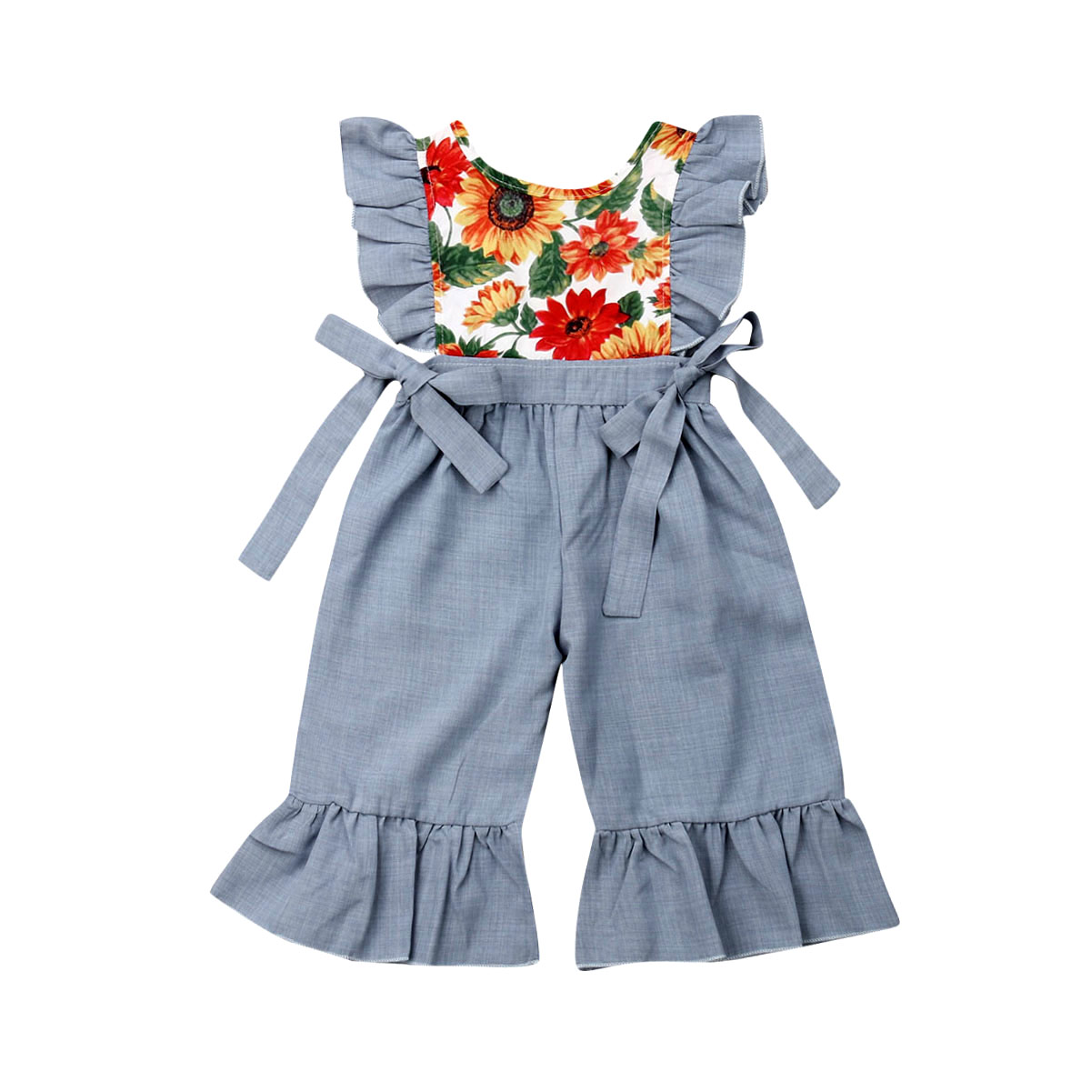 2019 Brand New Toddler Kids Baby Girl Sleeveless Sunflower Ruffle   Romper   Jumpsuit Pallysuit Summer Kids Putfits Clothes