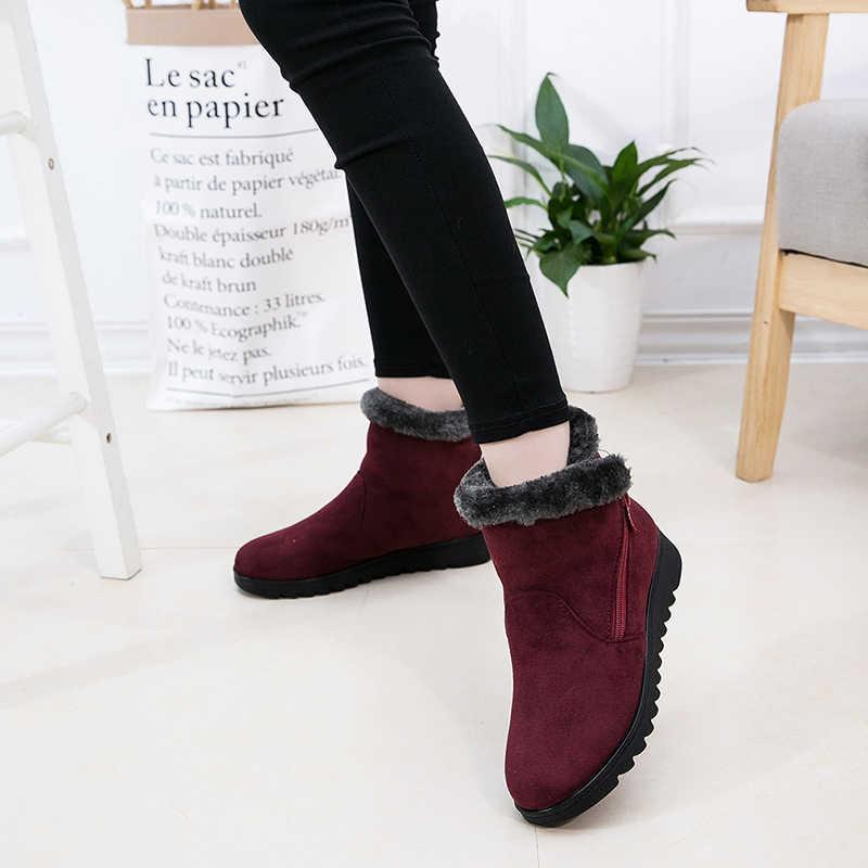 2019 kadın ayakkabı kadınlar kış kar botları sıcak yarım çizmeler platformu kauçuk kadın çizmeler kış kar ayakkabı bayan alçak topuk ayakkabı
