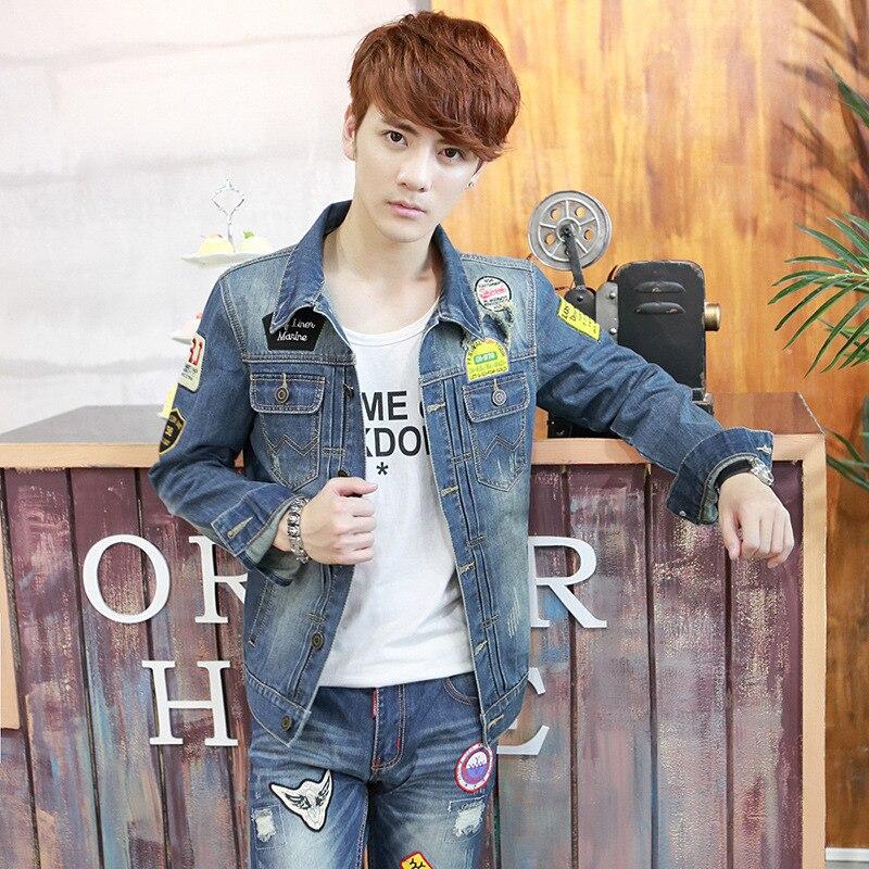 R 23828 2016 Outono Nova Jaqueta De Inverno Dos Homens Moda Urbana Modelos Maré Coreano Magro Popular Denim Jeans Jaqueta Dos Homens Jovens Em