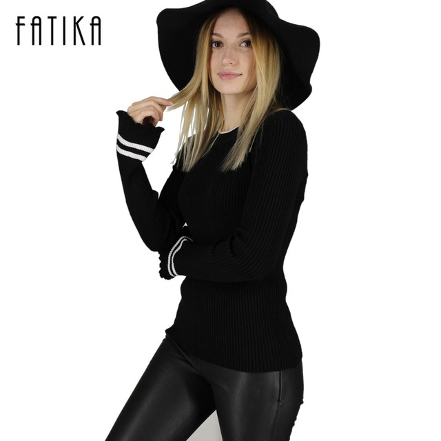 FATIKA 2017 Women Striped Flare Sleeve Fashion Pullover and Sweater Autumn Winter Female Soft Comfortable Warm Slim Pullovers