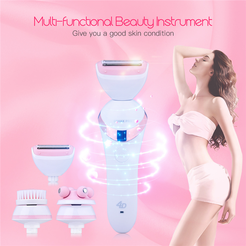 3 In 1 Women Beauty Tools Electric Lady Shaver Epilator Hair Removal Depilator Depilation+Face Cleansing Brush+Facial Massager deep face cleansing brush facial cleanser 2 speeds electric face wash machine