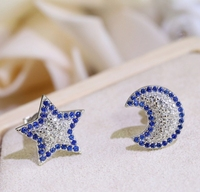 Wholesale Fashion Jewelry 925 Sterling Silver CZ Moon Star Shape Stud Earring for Women Lovely Stud For Lady High Quality