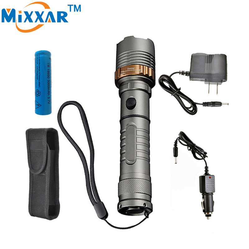 mixxar Self Defense Cree XM-L T6 6000LM Tactical LED Rechargeable flashlight Torch lamps 18650 or 3xAAA battery Hunt Light lanterna cree xm l t6 4000lm tactical flashlight torch zoom linternas led flashlight 3xaaa or 1x 18650 rechargeable battery z45