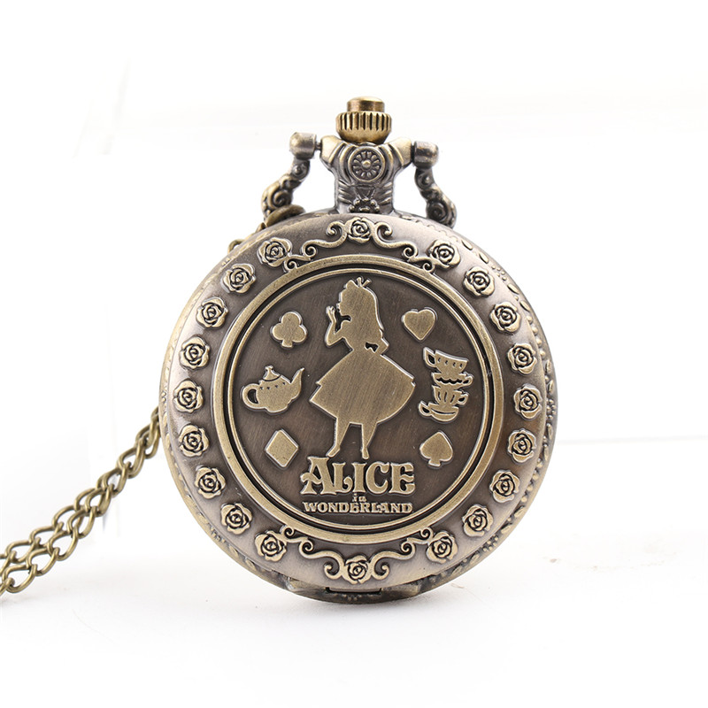 Alice in Wonderland Theme Қола Кварц Pocket Watches Ыстық сатылым Vintage Fob уақыты уақыты қалтада Рождество Brithday Сыйлық