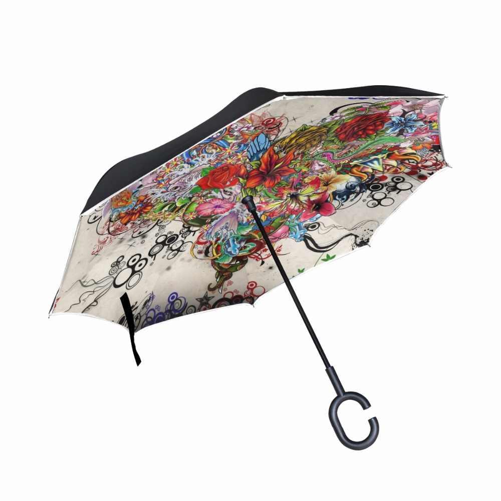 db4270280a08 Yesello Purple Flower Folding Automatic Umbrella Rain Women Auto ...