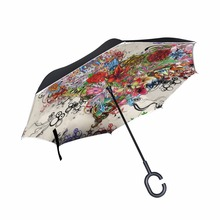Inverted Umbrellas Double-Layer Windproof Heart Floral Self-Stand Art-Pattern