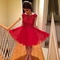 Vestidos de formatura oitava série Vermelho Vestidos Frisada Vestidos de Cocktail Curto do baile de Finalistas do Regresso A Casa