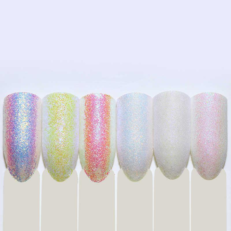 ผงเล็บ Holographic ที่มีสีสัน Glitter Sequins Pastel Nail Art Glitter Sequins 3D ตกแต่งเล็บเคล็ดลับ