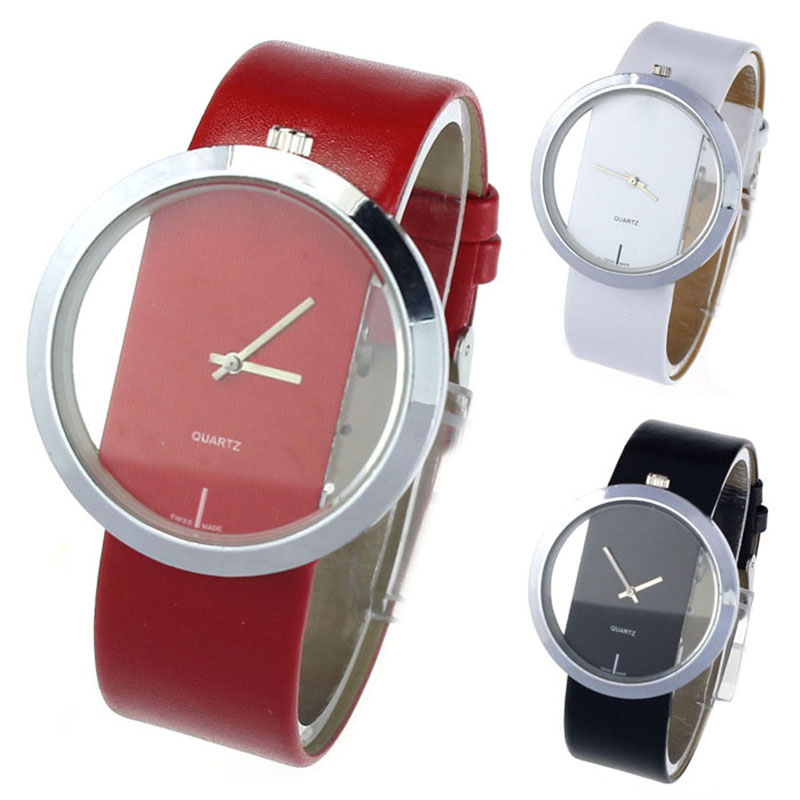 1PC New Clock font b Women b font Fashion PU Leather Transparent Dial Hollow Analog Quartz