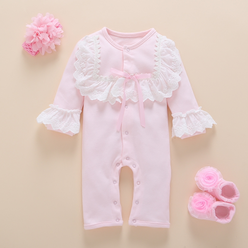 0505b3db84ee9 Newborn Baby Girl Clothes photography Set Autumn Cute Cotton Long Sleeve  flower Romper Kids Girls Clothes Boutique 0-3 months