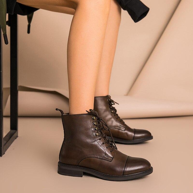 BeauToday النساء حذاء من الجلد حقيقية جلد البقر الدانتيل متابعة جولة اصبع القدم أعلى جودة الخريف الشتاء السيدات الأحذية اليدوية 03086-في أحذية الكاحل من أحذية على  مجموعة 3