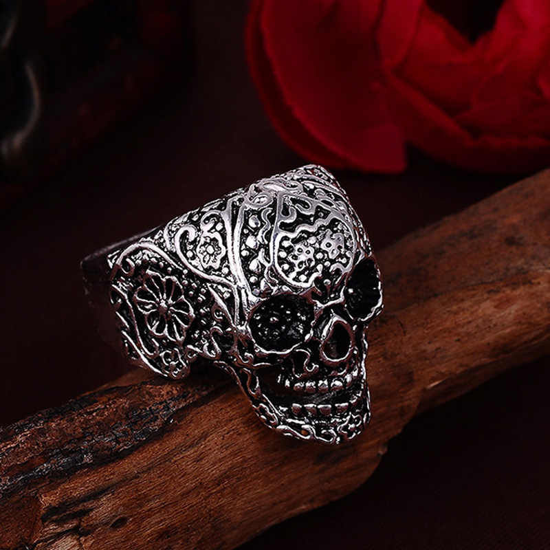 2019 Vintage Skull Rings Hot Men's Punk Style Flower Skull Biker Ring Fashion Skeleton Jewelry US Size  8 9 10 11