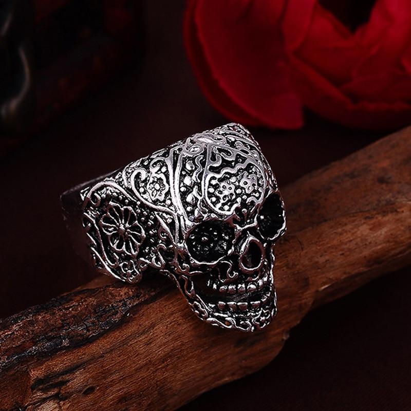 2017 skull rings hot mens punk style flower skull biker ring fashion skeleton jewelry 2016 size - Skull Wedding Rings For Men