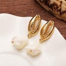 Rinhoo Long Tassel Pendant Dangle Earrings Women Irregular Freshwater Pearl Shell Drop Earring Gold Color Fashion Jewelry