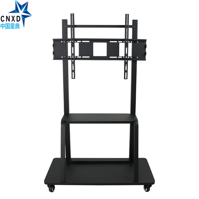 Mobile Tv Carts Floor Stand Mount Movable Trolley Bracket With Wheels And Dvd Shelf