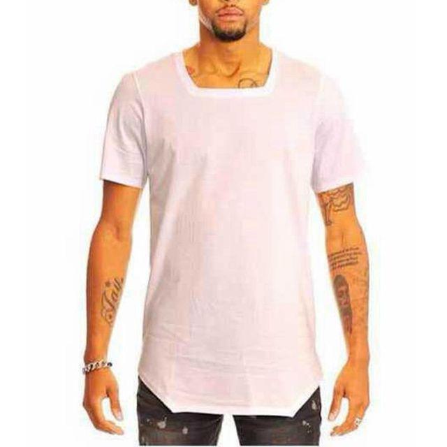 26677c49d6e4 Summer Style Men s Hip Hop Short Sleeve T Shirt Plain Cotton Square Neck T-shirt  for Men Black White Man Streetwear High Quality