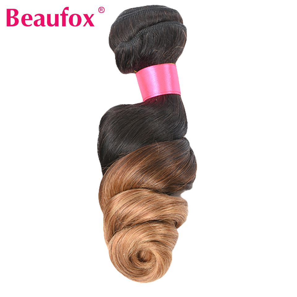 Beaufox Ombre Hair Bundles Brazilian Loose Wave Ombre Blonde Human Hair Bundle 1B/27 Non-remy Hair Extension Can Buy 3 or 4PCS ...