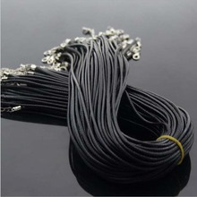 Wholesale 2 mm black leather cord wax rope chain necklace 45 cm lobster clasp DIY jewelry accessories  wholesale 2mm black brown red wax leather cord necklace rope 45 5cm chain lobster clasp diy jewelry accessories 100pcs fast
