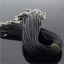 Купить с кэшбэком Wholesale 2 mm black leather cord wax rope chain necklace 45 cm lobster clasp DIY jewelry accessories