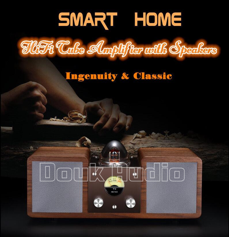 2016 New Douk Audio Smart Home Hi-Fi Vacuum Tube Amplifier Stereo Bluetooth Speaker Surround Sound choseal top level hi fi speaker wire with u jack home theater surround sound system amplifier occ audio cable braided lb5108
