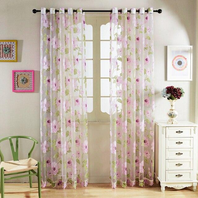Senisaihon printed tulle curtains modern pink flower pattern sheer senisaihon printed tulle curtains modern pink flower pattern sheer curtain ultra thin translucidus home decoration voile mightylinksfo