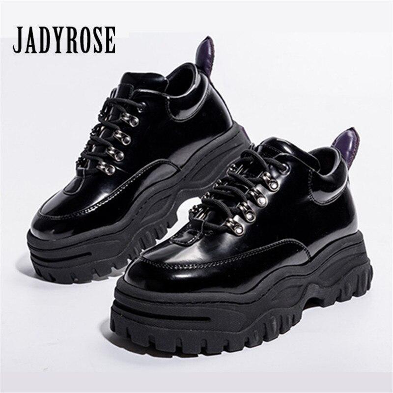 Jady Rose Noir En Cuir Verni Femmes Sneakers Plate-Forme Chaussures Femme Femme Creepers Casual Appartements Tenis Feminino Espadrilles