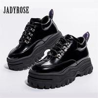 Jady Rose Black Patent Leather Women Sneakers Platform Shoes Woman Creepers Female Casual Flats Tenis Feminino Espadrilles