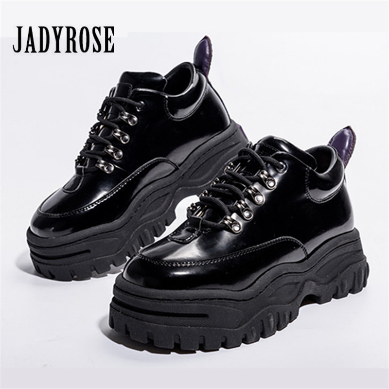 Jady Rose Black Patent Leather Women Sneakers Platform Shoes Woman Creepers Female Casual Flats Tenis Feminino Espadrilles jady rose 2018 new women flats pointed toe velvet espadrilles female casual loafers flat shoes woman ladies shoe tenis feminino