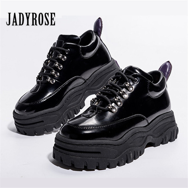 d01a86a3f5a3 Jady Rose Black Patent Leather Women Sneakers Platform Shoes Woman Creepers  Female Casual Flats Tenis Feminino Espadrilles