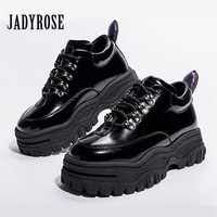 Jady Rose Black Patent Leather Women Sneakers Platform Shoes Woman Creepers Female Casual Flats Tenis Feminino Espadrilles